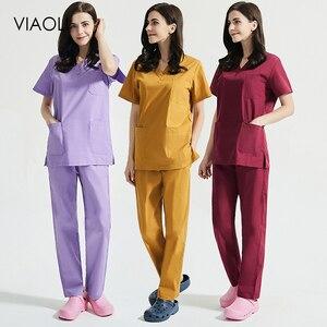 Для женщин короткий рукав Красота форма v-образный вырез скрабы Топы + брюки униформа для сотрудниц спа-салонов медицинских работников Рабо...