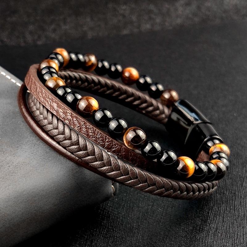 4Pcs/ Set Braided Wrap Leather Bracelets for Men VintageTiger eyes stone Charm stainless steel men Beads Ethnic Tribal Wristband