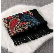 Luksusowe marki nowe kobiety szalik wysokiej jakości haftować kwiat zimowe kaszmirowe chustki damskie szale okłady damska paszmina echarpe