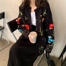 Milinsus Women Cardigans Sweaters 2019 Kawaii Cartoon Animal Embroidery Floral Knitwear Korean Fashion Female Knitted Cardigan