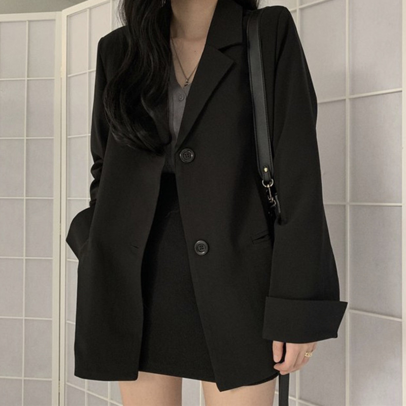 Formal Black Blazer Skirts Suit Workwear 2020 Notched Casual Blazer Coat+Short Bodycon Skirt Spring 2 Piece Set For Women