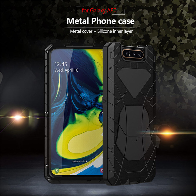 For Samsung Galaxy A80 Phone Case Hard Aluminum Metal Tempered Glass Screen Gift Protector Cover Heavy Duty Protection Cover 3