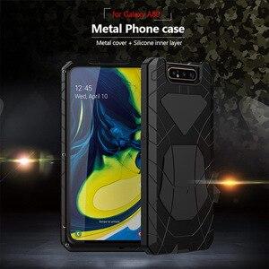 Image 3 - עבור סמסונג גלקסי A80 טלפון מקרה קשה אלומיניום מתכת מזג זכוכית מסך מתנת מגן כיסוי כבד החובה הגנת כיסוי