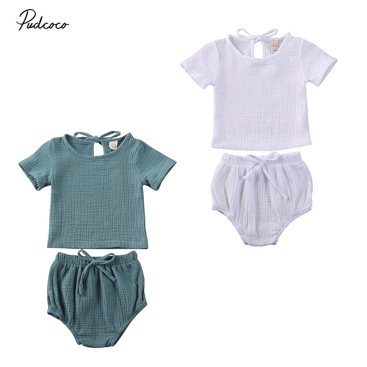 0-24Months Infant Baby Boy Girl Unisex Clothes Cotton&Linen T-Shirt Tops+Shorts 2pcs Set Summer Casual Outfit
