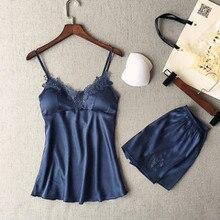 2019 New Women Sleepwear Sexy Satin Pajama Set Lace V-Neck Pyjamas Sleeveless Cute Cami Top and Shor