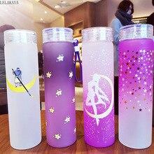 1 stücke 500ml Sailor Moon Kunststoff Bunte Tasse Anime Action Figure Gedruckt wärme beständig Hand tasse mit Deckel tragbare Wasser Tasse Neue