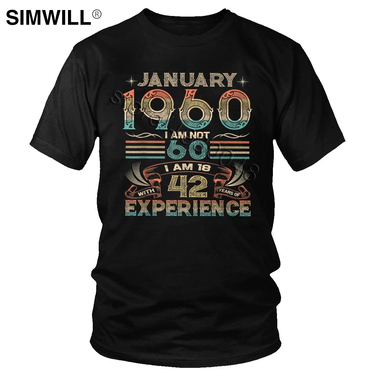 60 Year Old Gift 60th Birthday Gift January 1960 T-Shirt Retro Casual Cotton Tshirt Men Short Sleeve Legends Are Born In 60s Tee