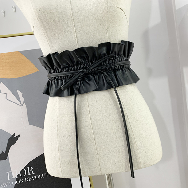 2020 New Design Waistband All-match Wide Belts For Women Solid Black Drawstring Leather Lace Corset Belt Hot Sale Female ZK960