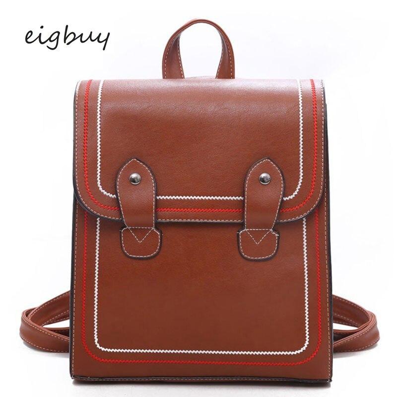 Bagpack Japanese Backpack Luxury Solid Pu Lock Zipper Black Retro School Bags For Teenagers Mochilas Travel Bookbag