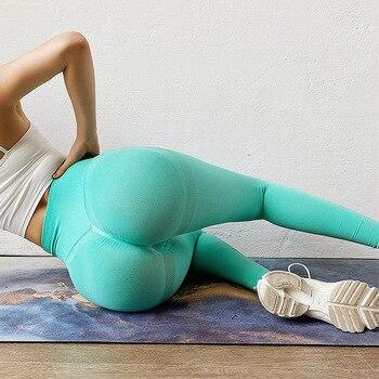 SEXY Women Fitness Buttocks Seamless Leggings Push Up Leggins Sport Running Gym Pants Energy Seamless Legging Sport Йога Leggins 1