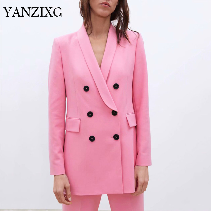 Stylish Pink Blazer Double Breasted Pockets Long Sleeve 2019 Casual Solid Coat Female Office Wear Outerwear Tops A983