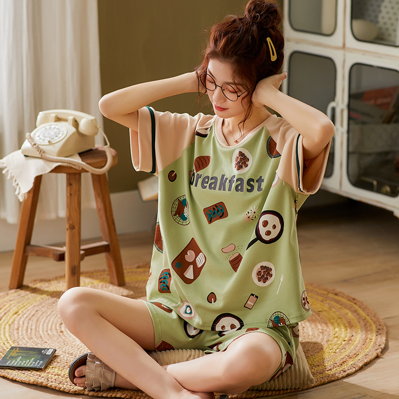 BZEL New Female Underwear Spring Summer Pajama Mujer Green Women's Nighty Cartoon Ladies Sleepwear Short Sleeve Shorts Nightwear