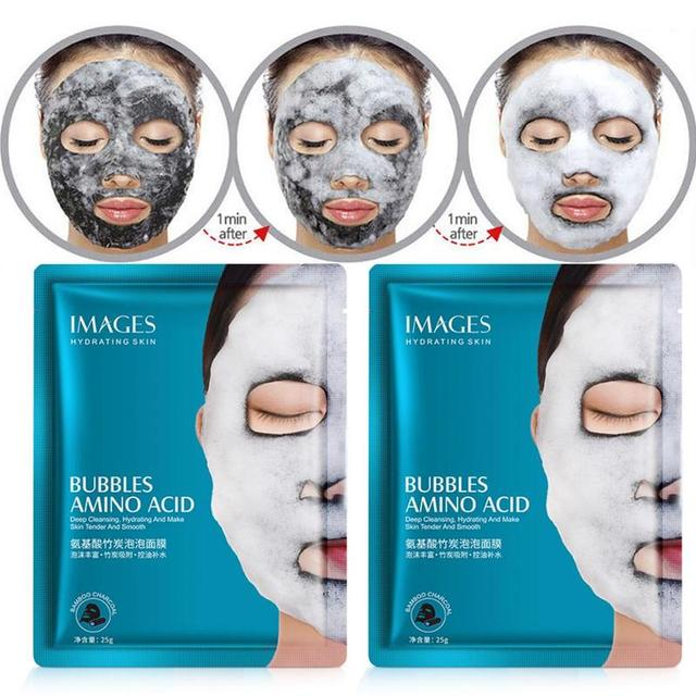 5Pcs/pack Oxygen Bubble Sheet Mask Korean Cosmetic Moisturizing Bamboo Charcoal Black Face Mask Whitening Skin Care 2