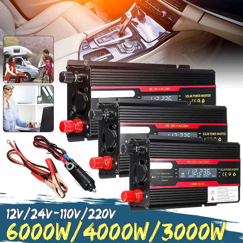 Car <font><b>Inverter</b></font> <font><b>12V</b></font> 220V <font><b>3000W</b></font> 4000W 6000W Peak Solar Power <font><b>Inverter</b></font> Voltage Convertor Transformer <font><b>12V</b></font> 220V Inversor + LCD Display image