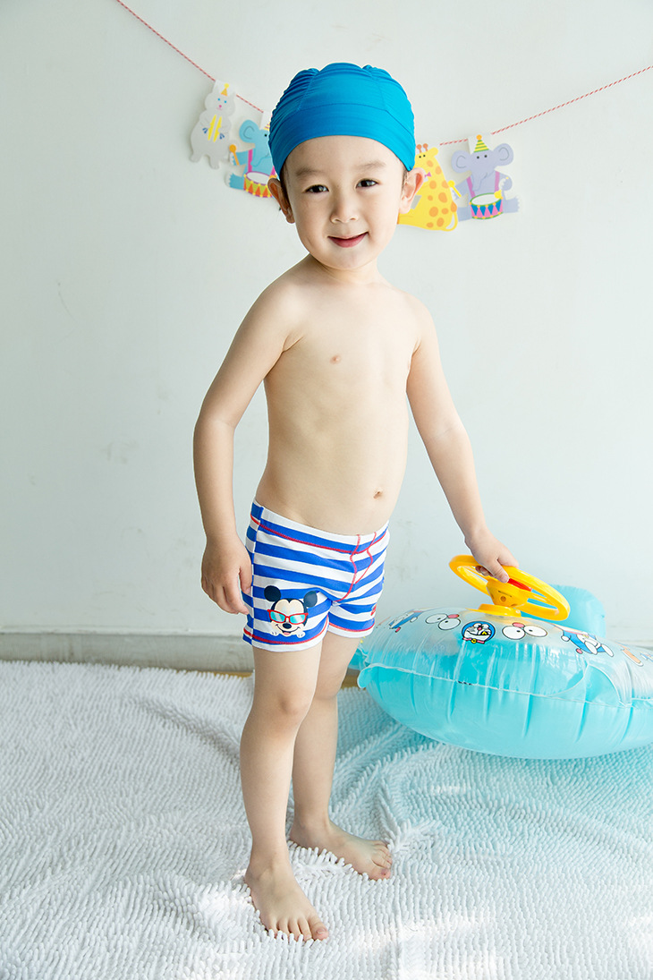 Blue And White Wide Car CHILDREN'S Swimming Trunks Cute Boy Infants Small Children Swimming Hot Springs AussieBum