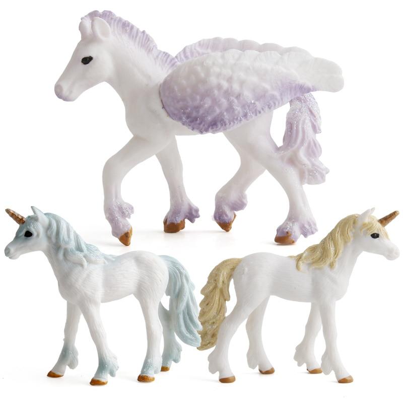 European Mythical Unicorn Figurines Pegasus Angel Unicorn Pegasus Figurine Horse Model Home Decoration Kids Birthday Toys