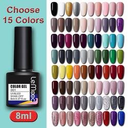 LEMOOC 8ml Gel Nail Polish Set Choose 15 Colors Soak Off Semi Permanent UV Gel Nail Art Gel Varnish Kit varnish LM01-LM80