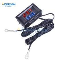 Mini termómetro Digital con pantalla Dual LED DC 4V-28V, 0,28 pulgadas, NTC, sonda de Metal a prueba de agua, probador de Sensor de temperatura para interiores