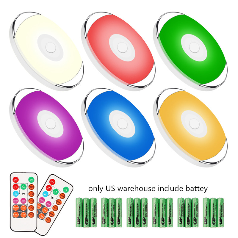 6 Pack Wireless Touch Sensor Under Cabinet Light Battery RGB LED Puck Lights With Remote Control For Kitchen Wardrobe Closet