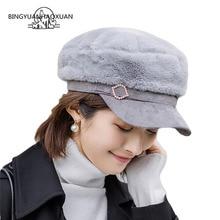 Женская шапка из искусственного меха в стиле милитари с утолщенной теплой уличной плоской кепкой Newsboy береты Модные женские береты gorra