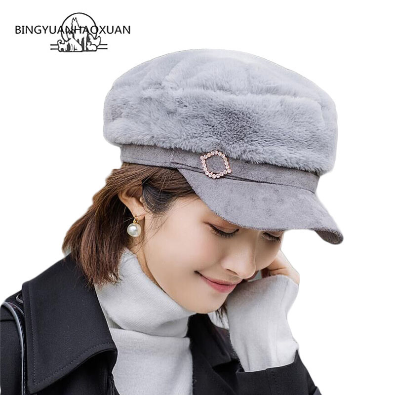 2019 Women Faux Fur Military Hat With Thicken Warm Streetwear Flat Cap Newsboy Beret Caps Fashion Women Berets Gorra
