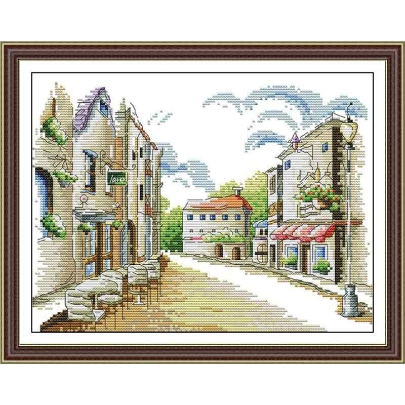 Seaside cafe streetscape pintura contagem de impressão em tela 14ct e 11ct dms ponto cruz padrão bordado kit diy bordado conjunto