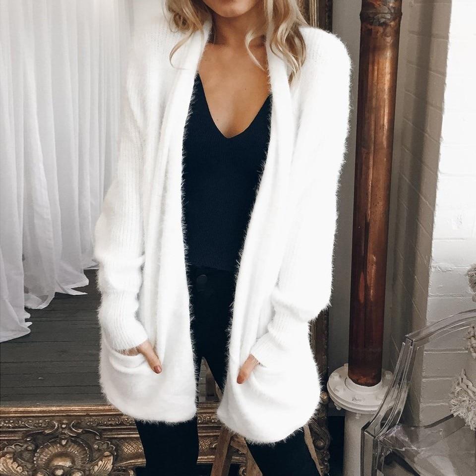 US $6.04 36% OFF Winter Womens White Cardigan Sweater Long Sleeve Jumper Cardigan Pockets Tops Sweater Coat Female Sweaters Warm Sweaters Outwear   
