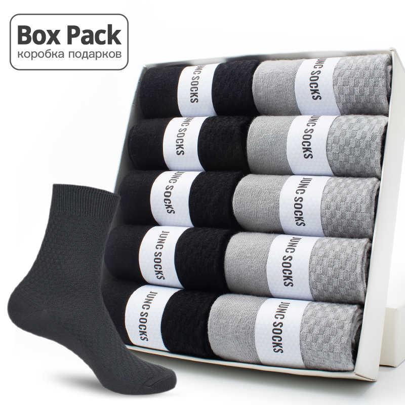 10 Paren/doos Pack Business Mannen Bamboe Sokken Hoge Kwaliteit Nieuwe Klassieke Lange Sokken Voor Zomer Winter Heren Dress Sok Size ons 6-12