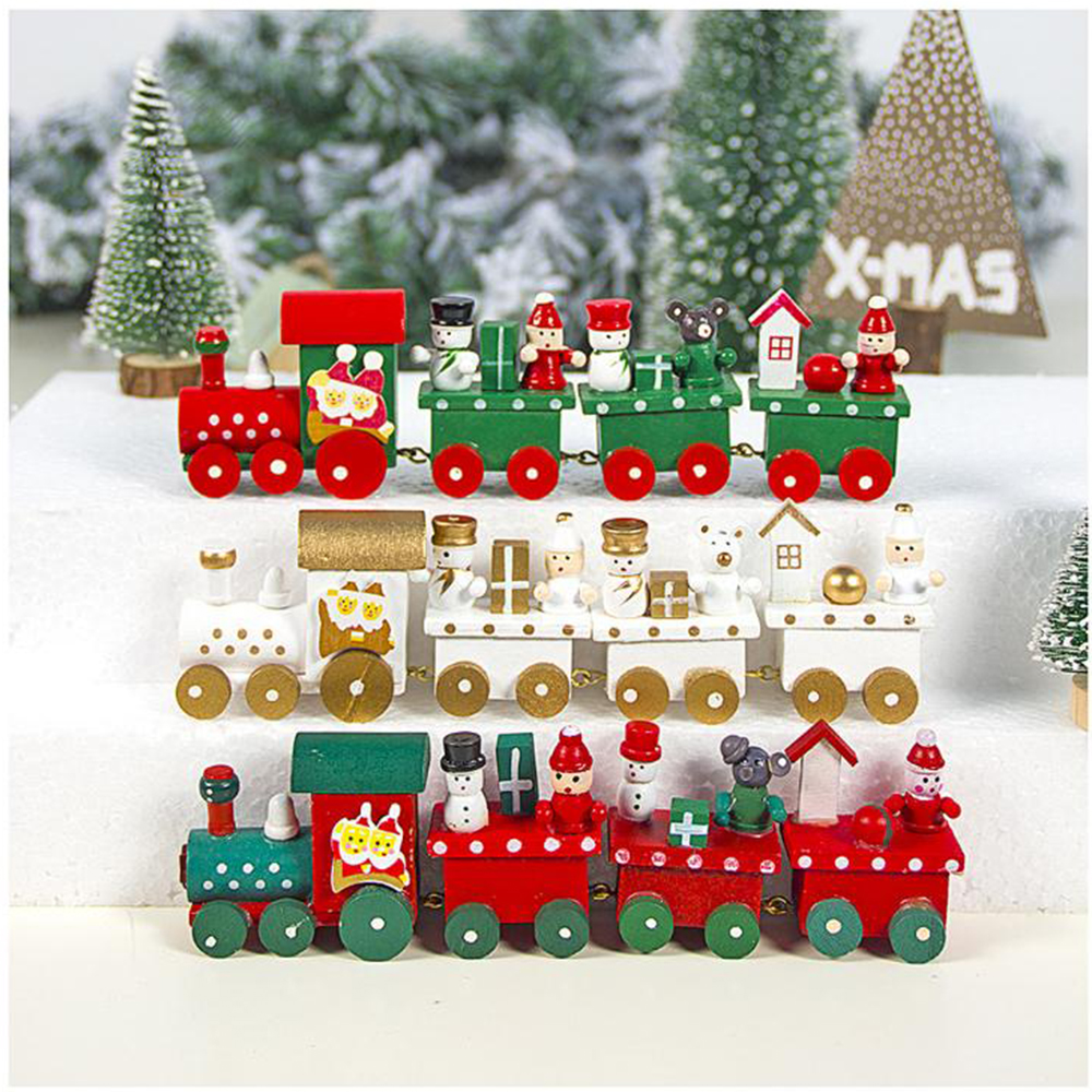 1 Pcs New Christmas Train Painted Wood Christmas Decoration For Home With Santa Bear Xmas Kid Toys Gift Ornament New Year Gift Pendant Drop Ornaments Aliexpress