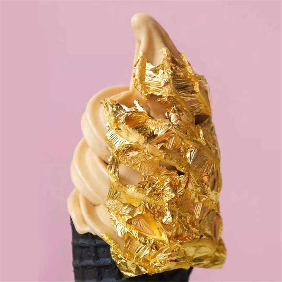 Ttlife 1 pçs grau comestível genuíno folha de ouro schabin flocos 2g 24k ouro pratos decorativos chef arte bolo ferramentas de decoração chocolate