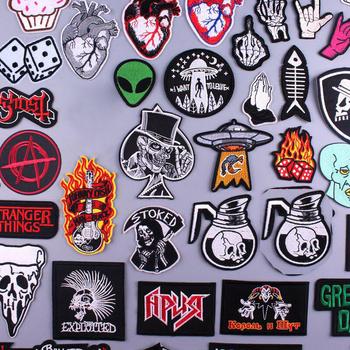 Pulaqi Hippie Rock łatki zespół muzyczny łatka haftowane żelazko na plastry na ubrania paski łatka Slogan naklejana etykieta aplikacja tanie i dobre opinie CN (pochodzenie) as picture show HANDMADE Ekologiczne Iron-on punk rock clothing patches Punk Patch Retail China Manufacturer