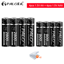 PALO 1.5V 2800mWh Li-ion AA Rechargeable Battery 1.5V 900mWh Lithium Li ion AAA Rechargeable Battery for Camera Toy Car