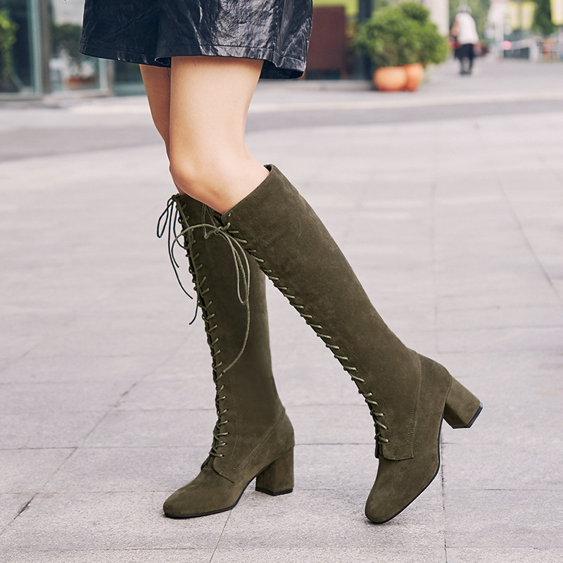 Hot Sale 2020 New Sexy Ladies Lace Up Knee High Boots Plus Size 43 Platfrom Long Boots Women Shoes PU Leather Boots Zapatos De Mujer