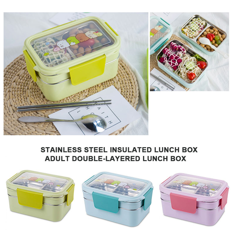 Lunch Box Bento Box Thermal Lunch Box Double-Layer 304 Stainless Steel Cartoon Elegant Durable Cutlery Food Container Heating