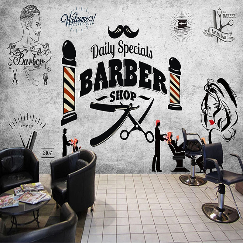 Custom Wall Paper 3D Retro Hairdressing Hair Barber Shop Background Photo Mural Wallpaper 3D Poster Wall Decoration Wallpapers