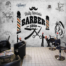 Custom Wall Paper 3D Retro Hairdressing Hair Barber Shop Background Photo Mural Wallpaper 3D Poster Wall Decoration Wallpapers tie ler fight club kraft paper poster movie vintage paper poster retro art wall decoration wall sticker 51 5 35 cm