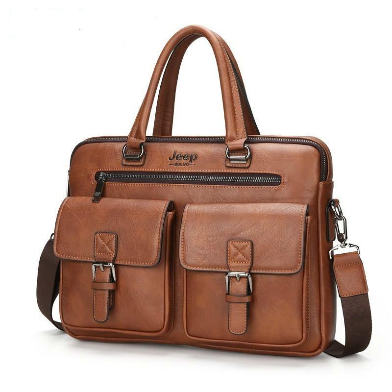Fashion Men Briefcases Leather Handbag Men's Business Messenger Bag Two Pocket Soft Handle Laptop Bags Bolso Bandolera Hombre|Briefcases| - AliExpress