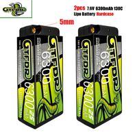 GTFDR-batería Lipo 2S, HV, 7,6 V, 6300mah, 130C, 5mm, paquete corto de competición para RC 1/10, camión, Buggy, Coche