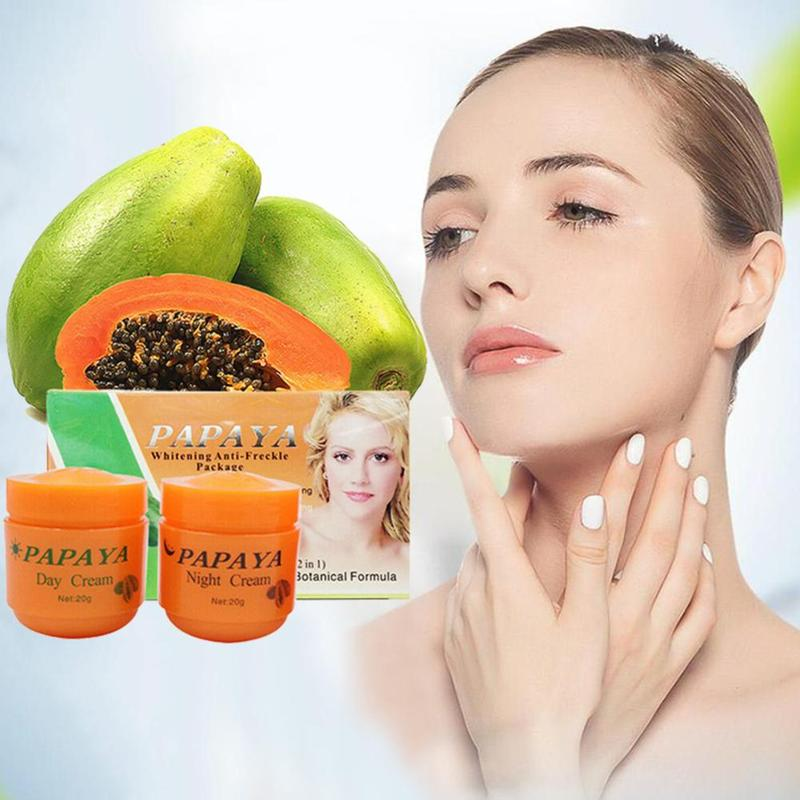 2pcs Papaya Vitamina C Whitening Cream Anti Freckle Night/day Cream Decompose And Remove Melanin Dilute The Pigmentation Cream