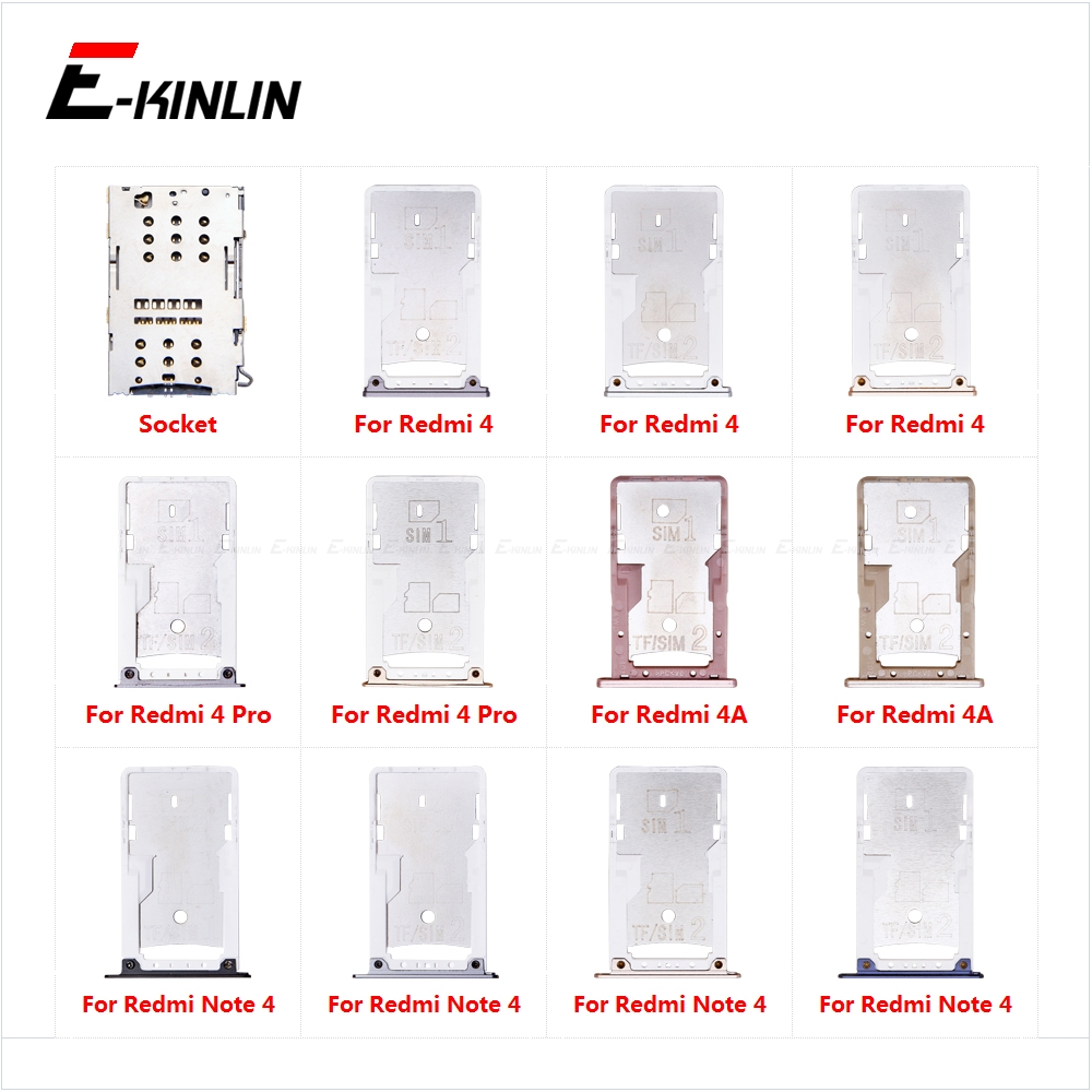 Sim Card Socket Slot Tray Reader Holder Connector Micro SD Adapter Container For XiaoMi Redmi 4A 4 Pro Note 4 Replacement Parts