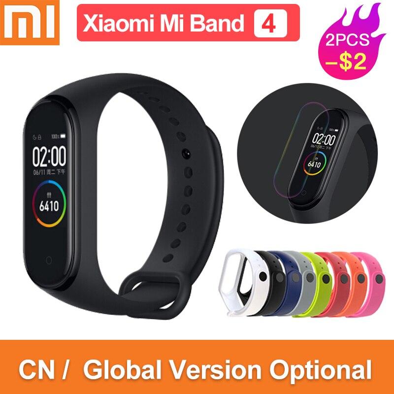 Version mondiale original xiaomi mi bande 4 couleur écran 2019 dernière musique bracelet intelligent fréquence cardiaque fitness 135mAh bluetooth 5.0