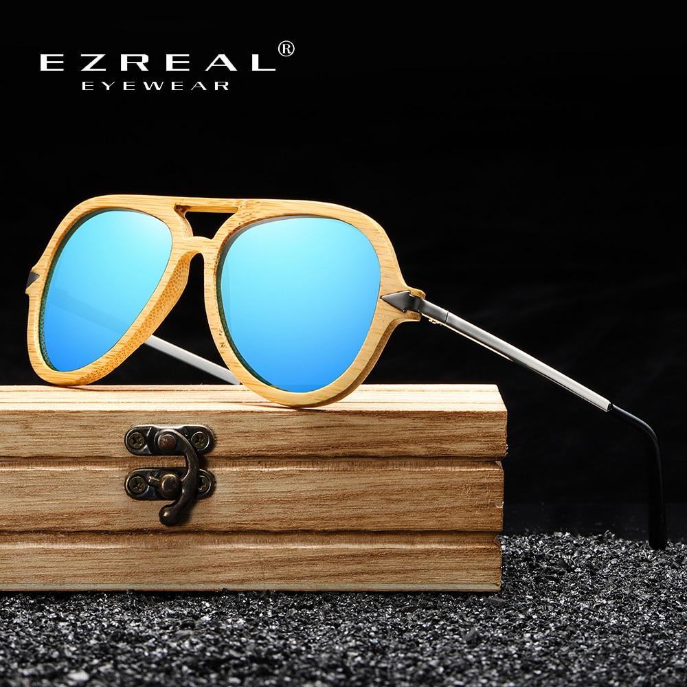 EZREAL брендовые винтажные бамбуковые и деревянные солнцезащитные очки для мужчин и женщин, брендовая дизайнерская бамбуковая оправа с метал...
