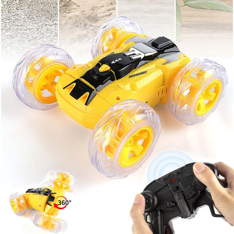 2.4G Drive Dance Stunt Vehicle Remote Control Drift Double Side RC Car Cool Light Music 50M 360 Degree USB Charging Toys for Kid