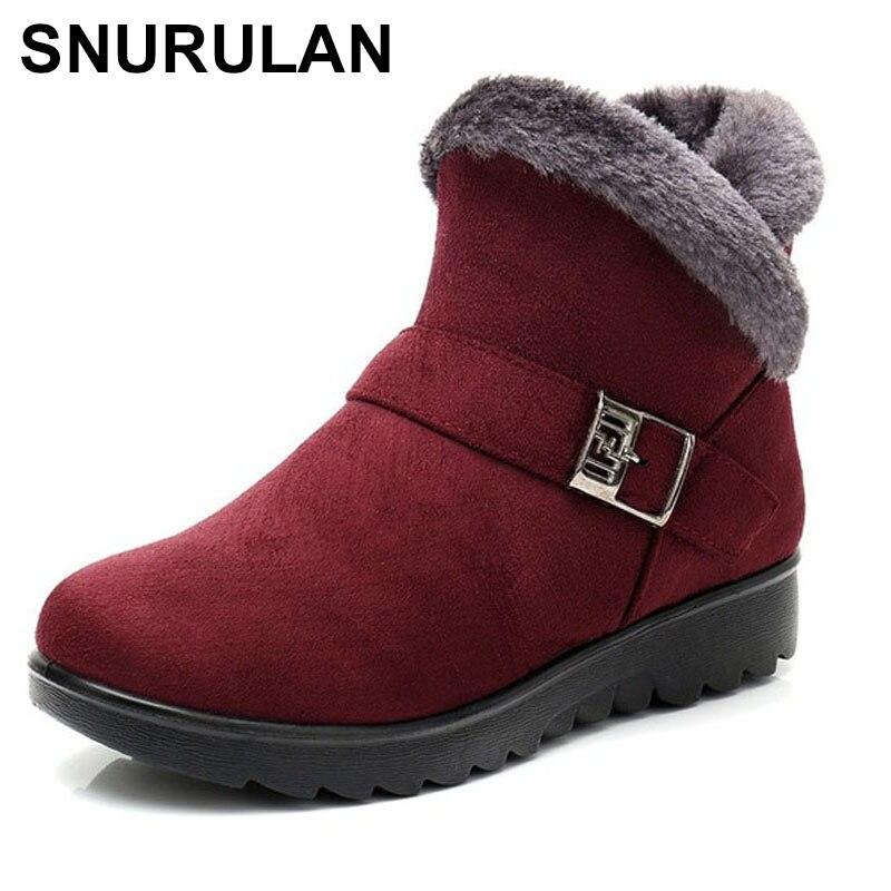 Inveno de Felpa Botas de Nieve Plataforma de Talla Zapatos de Snurulan Corta Caliente Grande Zapatos de