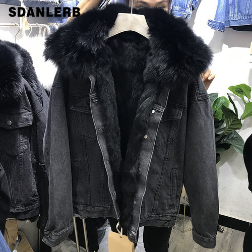 Denim Jacket Women Long Sleeve Winter Coat Cotton Padded Warm Natural Fox Fur Collar Real Rabbit Fur Liner Detachable Moto Coats