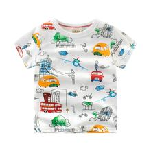 Girls Shirts Kids Short-Sleeves Car-Printing Boys Summer Children 100%Cotton Tees Top