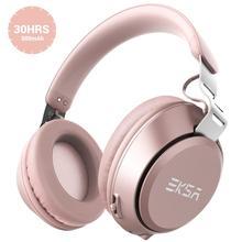 Eksa E100ピンクワイヤレスイヤホンbluetooth 5.0ヘッドホンとマイクbultステレオオーバー 耳通話ハンズフリーヘッドセット電話