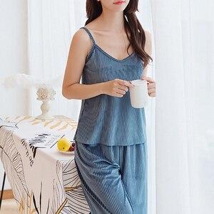 Image 4 - Women Pajamas sleepwear Velvet 3 Pieces pajamas for women Warm Winter Pajamas Sets Sexy Pajama Set Women pyjama cotton pijama