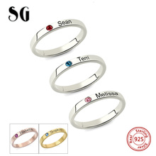 New Arrival Personalized Stackable Engraved Name Rings with Birthstone Triple Ring 925 Sterling Silver Custom Jewelry