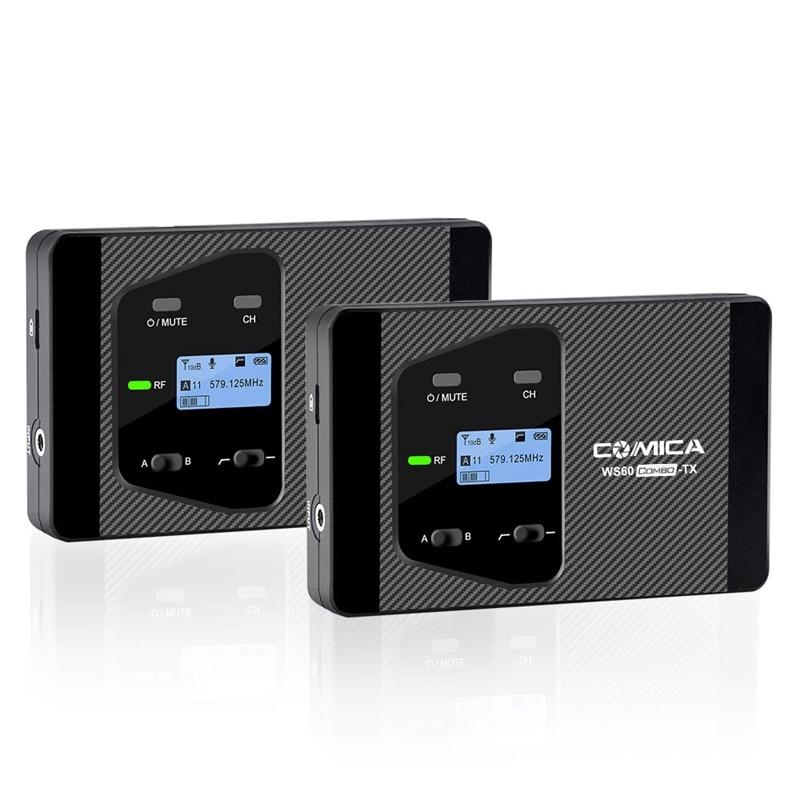 Comica Cvm Ws60 Mini sistema de micrófono inalámbrico (dos transmisores un receptor) para Smartphones y cámaras, uhf 12 canales 60 M - 6